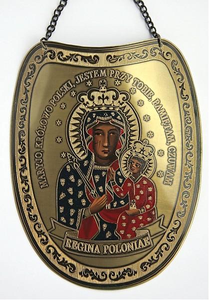 Ryngraf z wizerunkiem Matki Bożej Częstochowskiej w koronie